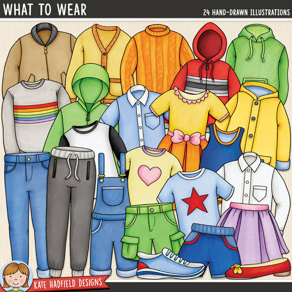 What To Wear - clothing themed digital scrapbook elements / cute clothes clip art! Hand-drawn illustrations for digital scrapbooking, crafting and teaching resources from Kate Hadfield Designs.