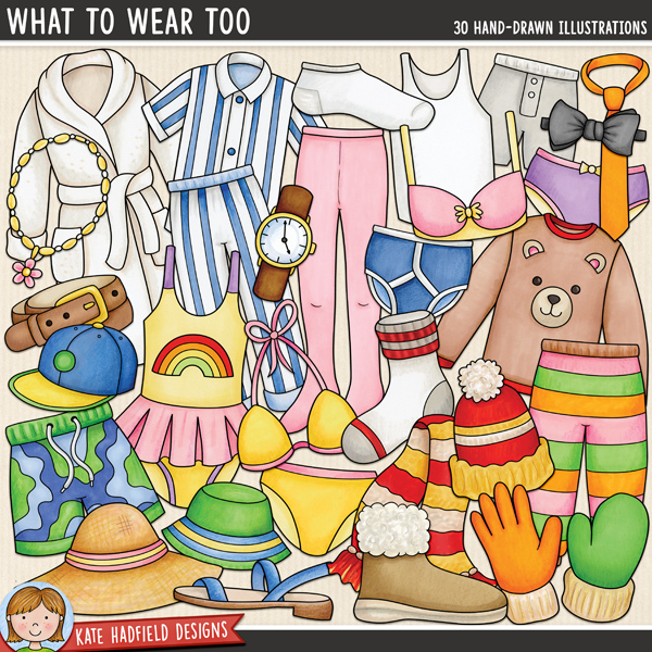 What To Wear Too - clothing themed digital scrapbook elements / cute clothes clip art! Hand-drawn illustrations for digital scrapbooking, crafting and teaching resources from Kate Hadfield Designs.