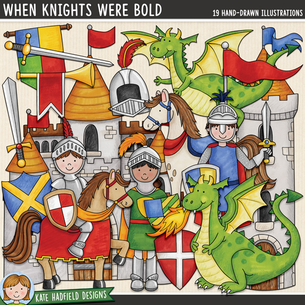 When Knights Were Bold - medieval knights and dragons digital scrapbook kit / cute fairy tale clip art! Hand-drawn illustrations for digital scrapbooking, crafting and teaching resources from Kate Hadfield Designs. #digitalscrapbooking