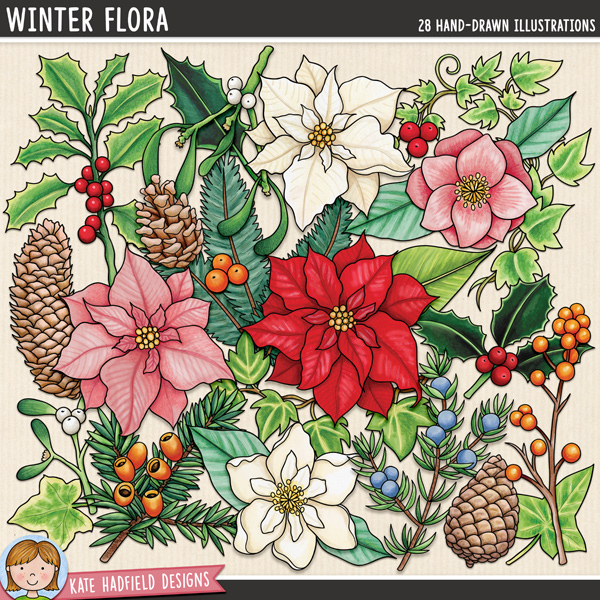 Winter Flora - Christmas flowers and foliage digital scrapbook elements / cute winter flora clip art! Hand-drawn doodles and illustrations for digital scrapbooking, crafting and teaching resources from Kate Hadfield Designs.