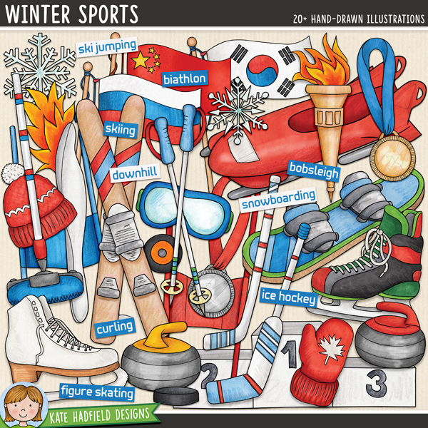Winter Sports digital scrapbook elements / fun ice hockey, skating and skiing clip art! Hand-drawn illustrations for digital scrapbooking, crafting and teaching resources from Kate Hadfield Designs.