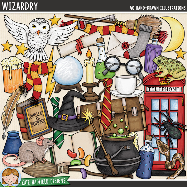 A jam packed doodled kit full of all sorts of wizarding paraphernalia that's perfect for capturing memories of your favourite wizards and witches and for making magical projects! Wizardry contains the following hand drawn doodles: jug of beer, open book, 2 broomsticks, candle, cauldron, crystal ball, 2 pairs of glasses, 2 witch / wizard hats, inkpot, jelly beans, key, letter, lightning, moon, owl, phone box, 3 potion bottles, quill, rat, 2 scarves, scroll, snake, sock, spell book, spider, stars, teacup, 2 school ties, toad, trunk, 2 wands and wand sparkle.FOR PERSONAL & EDUCATIONAL USE (please see my Terms of Use for more information)