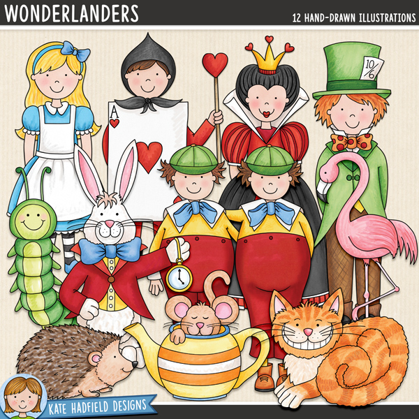 Alice in Wonderland digital scrapbook elements / cute Wonderland characters clip art! Hand-drawn illustrations and doodles for digital scrapbooking, crafting and teaching resources from Kate Hadfield Designs.