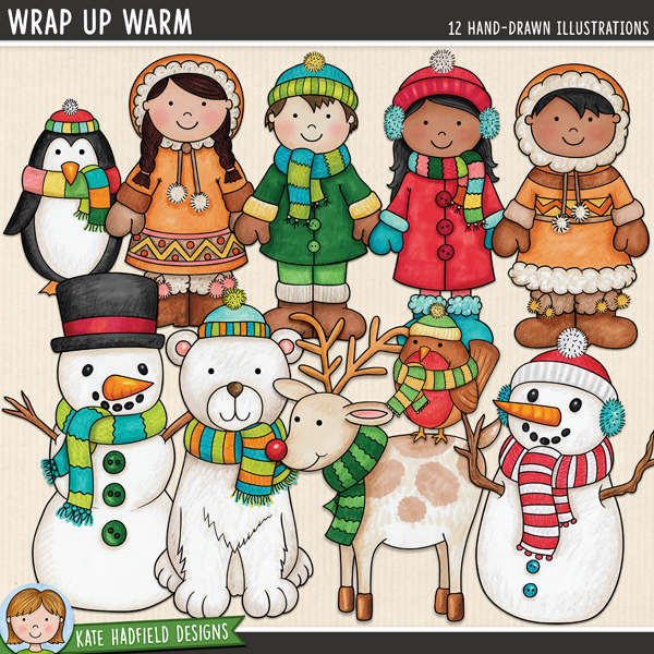 Wrap Up Warm - Winter kids digital scrapbook elements / cute winter characters clip art! Hand-drawn illustrations for digital scrapbooking, crafting and teaching resources from Kate Hadfield Designs.