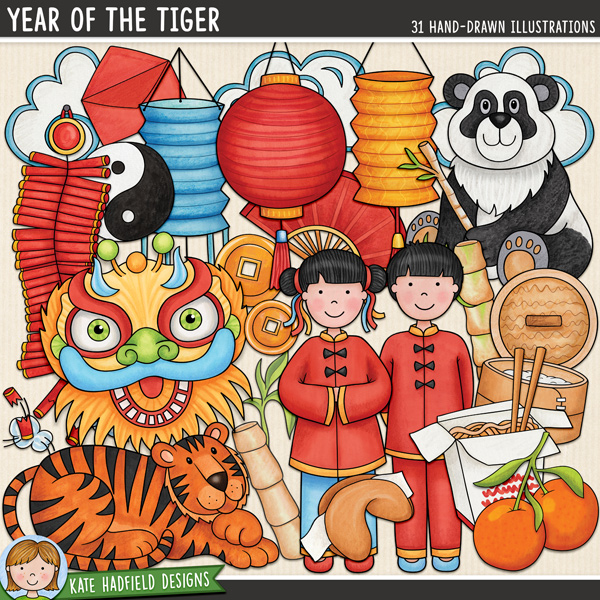 Year of the Tiger - Chinese New Year digital scrapbook elements and cute clip art! Hand-drawn illustrations for digital scrapbooking, crafting and teaching resources from Kate Hadfield Designs