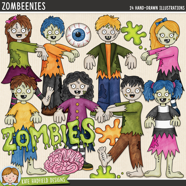 Zombeenies - a fun collection of zombies and cute Halloween character clip art! Hand-drawn digital scrapbook elements and illustrations for digital scrapbooking, crafting and teaching resources from Kate Hadfield Designs.