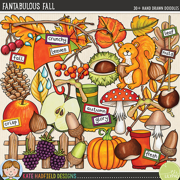 Fantabulous Fall digital scrapbook elements / cute autumn and fall clip art set! Hand-drawn doodles for digital scrapbooking, crafting and teaching resources from Kate Hadfield Designs. #digiscrap #digitalscrapbooking