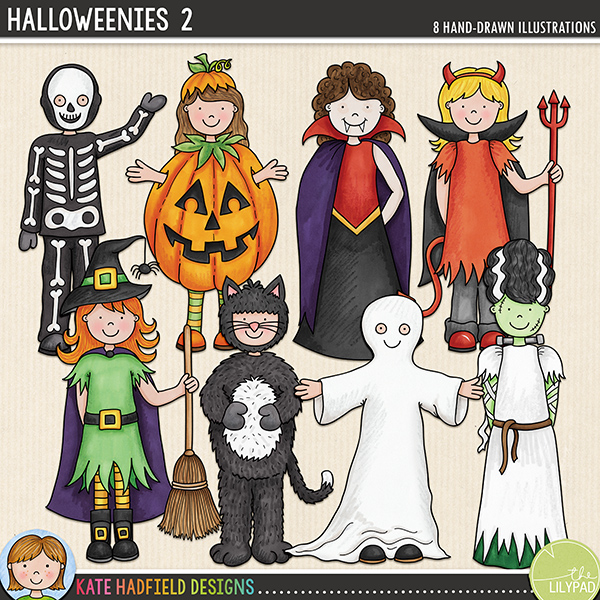 Halloweenies 2 - a fun collection of Halloween kids in costume, all ready to go trick-or-treating! Halloween character digital scrapbook elements / cute  clip art! Hand-drawn doodles and illustrations for digital scrapbooking, crafting and teaching resources from Kate Hadfield Designs.