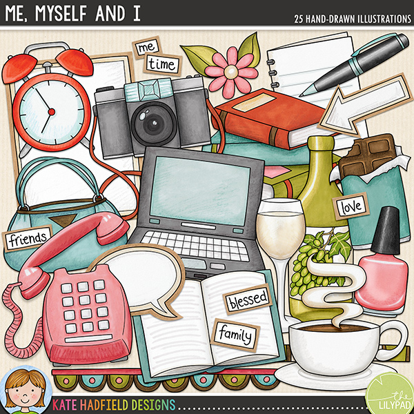 "Me, Myself and I - a collection of doodles  to help you document your ""me time"" and to celebrate your favourite things, blessings and hobbies. A cute pack of feminine digital scrapbook elements and everyday objects clip art. Hand-drawn illustrations for digital scrapbooking, crafting and teaching resources from Kate Hadfield Designs."