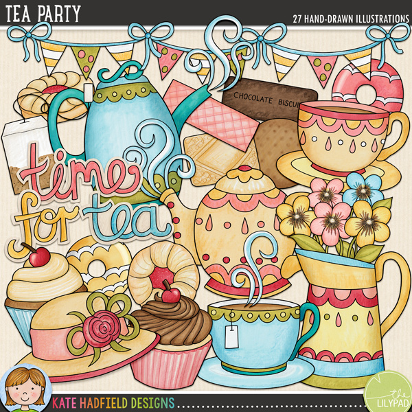 Tea Party - afternoon tea digital scrapbook kit / cute tea party clip art! Hand-drawn illustrations and clip art for digital scrapbooking, crafting and teaching resources from Kate Hadfield Designs.