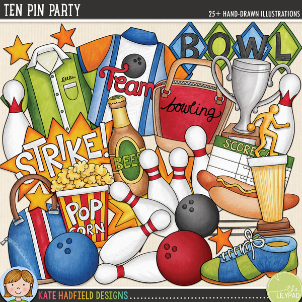Ten Pin Party - tenpin bowling digital scrapbook kit / fun bowling clip art! Hand-drawn illustrations and clipart for digital scrapbooking, crafting and teaching resources from Kate Hadfield Designs.