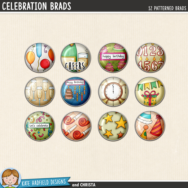 Celebration Brads - fun set of digital brads to help you add a touch of doodled fun to your scrapbook pages and hybrid projects! Perfect for new year, birthday, anniversary and all sorts of celebratory projects! Hand-drawn illustrations for digital scrapbooking, crafting and teaching resources from Kate Hadfield Designs. #digitalscrapbooking #digiscrap