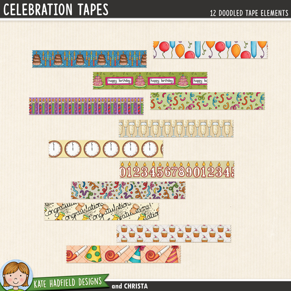 Celebration Tapes - a fun set of digital washi tape pieces to help you add a touch of doodled fun to your scrapbook pages and hybrid projects! Perfect for new year, birthday, anniversary and all sorts of celebratory projects! Hand-drawn illustrations for digital scrapbooking, crafting and teaching resources from Kate Hadfield Designs. #digitalscrapbooking #digiscrap