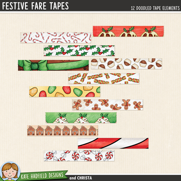 Festive Fare Tapes - digital Christmas washi tape! Hand-drawn scrapbook elements for digital scrapbooking, crafting and teaching resources from Kate Hadfield Designs.