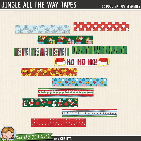 Jingle All The Way Tapes - digital Christmas washi tape! Hand-drawn scrapbook elements for digital scrapbooking, crafting and teaching resources from Kate Hadfield Designs.