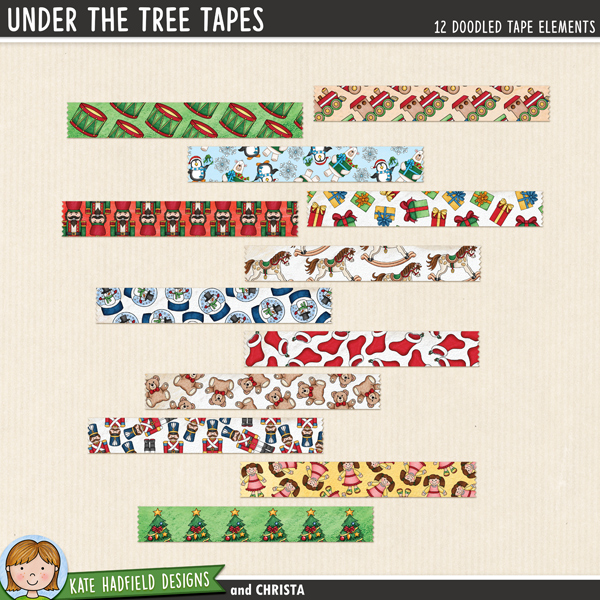 Under the Tree Tapes - digital Christmas washi tape! Hand-drawn scrapbook elements for digital scrapbooking, crafting and teaching resources from Kate Hadfield Designs.