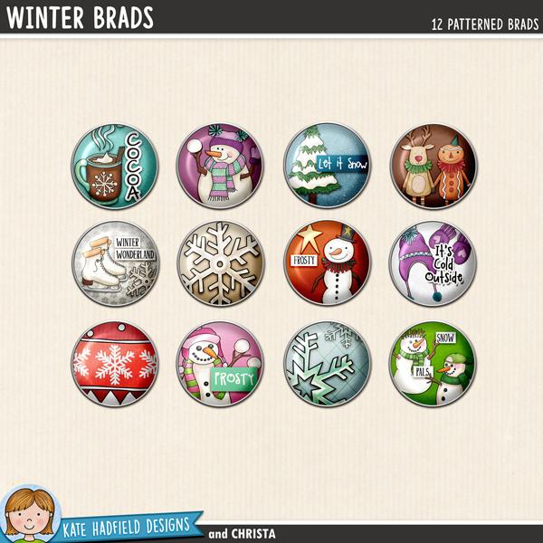 Winter Brads digital scrapbook elements - perfect for scrapbooking your winter memories! Hand-drawn digital scrapbook kits from Kate Hadfield Designs.