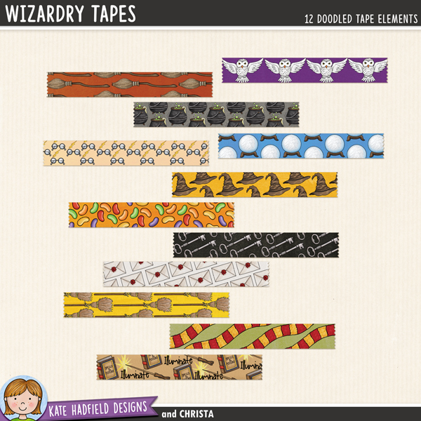 A fun collection of doodled washi tape for your Halloween stash! Use these pieces of tape as fasteners on your pages to hold down papers and photos, or get really creative and make frames or blocks of pattern with them! Created with doodles from my Wizardry doodle pack. Contains 12 pieces of tape approx 4.5 inches x 3/4 inch, each design is supplied in two versions: opaque paper tape and preshadowed semi-transparent vellum / washi tape style.Designs include: brooms x2, cauldron, crystal ball, glasses, hat, jelly beans, keys, letter envelopes, owls, scarf, magic wand.FOR PERSONAL / LIMITED S4H USE (please see my Terms Of Usefor more information)