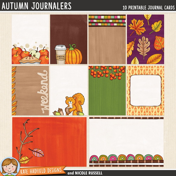 A fun packed collection of 8 3x4 inch  and 2 6x4 inch journal cards created by Nicole Russell using various autumnal doodle packs! Add a touch of fall fun to your pocket pages with these colourful cards, or use them as journal spots on your layouts! Supplied as individual jpeg / png files and as a letter sized ready-to-print PDF file.	FOR PERSONAL & EDUCATIONAL USE (please see my Terms of Use for more information)
