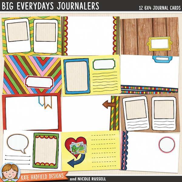 Big Everydays Journalers - a fun set of 6x4 digital scrapbooking journal cards to help you record your everyday memories!  Show off your photos with these pocket templates & hand-drawn journal cards from Kate Hadfield Designs.