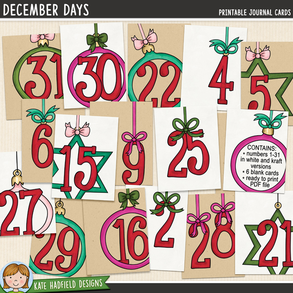 A collection of 37 3x4 journal cards created by Nicole Russell using my December Days alpha! Perfect for counting down to Christmas or Documenting your December, these cards will add a touch of artsy fun to your pocket pages or traditional layouts! Co-ordinates with the rest of the Document Your December 2014 collection.	Contains: 			cards with numbers 1-31 in both white and kraft backgrounds (total of 62 cards) supplied as individual 3x4 inch jpeg files			6 blank / numberless cards in both white and kraft background (total of 12 cards) supplied as individual 3x4 inch jpeg files			Letter sized ready-to-print PDF file	FOR PERSONAL USE (please see my Terms of Use for more information)