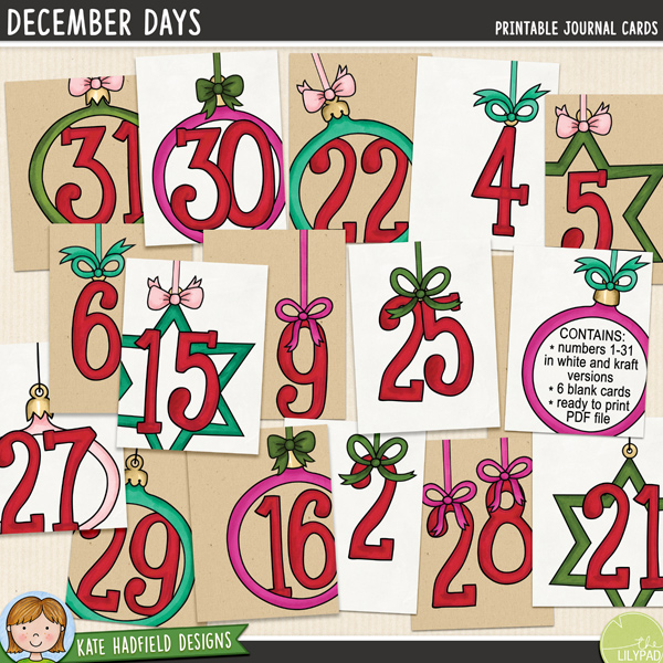 A collection of 37 3x4 journal cards created by Nicole Russell using my December Days alpha! Perfect for counting down to Christmas or Documenting your December, these cards will add a touch of artsy fun to your pocket pages or traditional layouts! Co-ordinates with the rest of the Document Your December 2014 collection.Contains: cards with numbers 1-31 in both white and kraft backgrounds (total of 62 cards) supplied as individual 3x4 inch jpeg files6 blank / numberless cards in both white and kraft background (total of 12 cards) supplied as individual 3x4 inch jpeg filesLetter sized ready-to-print PDF fileFOR PERSONAL USE (please see my Terms of Use for more information)