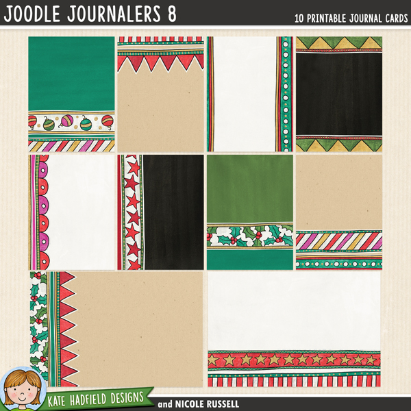 An artsy collection of 10 journal cards (2 6x4 inches, 8 3x4 inches) created by Nicole Russell using my Joodle Strips 6! Add a touch of artsy fun to your pocket pages with these colourful cards, or use them as journal spots on your layouts! Co-ordinates with the rest of the 2014 Document Your December collection.	FOR PERSONAL / LIMITED S4H USE (please see my Terms of Use for more information)