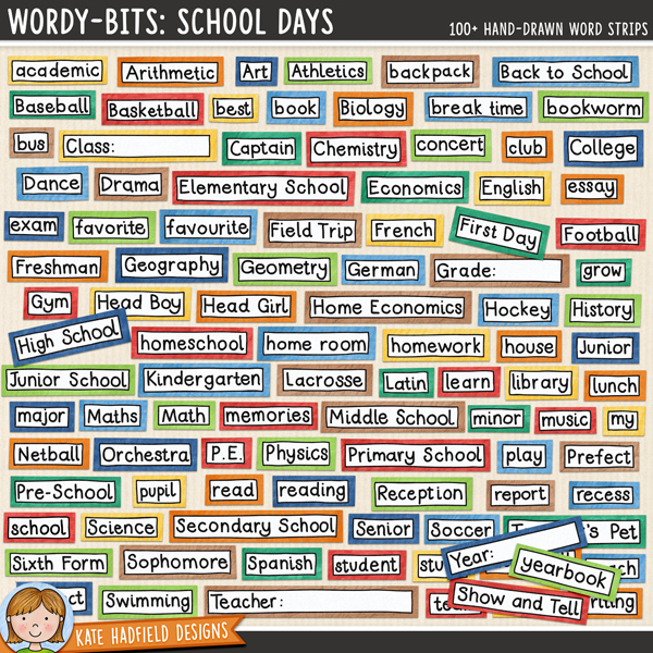 Wordy-Bits : School Days - hand-written school themed word strips for digital scrapbooking, crafting and teaching resources by Kate Hadfield Designs.