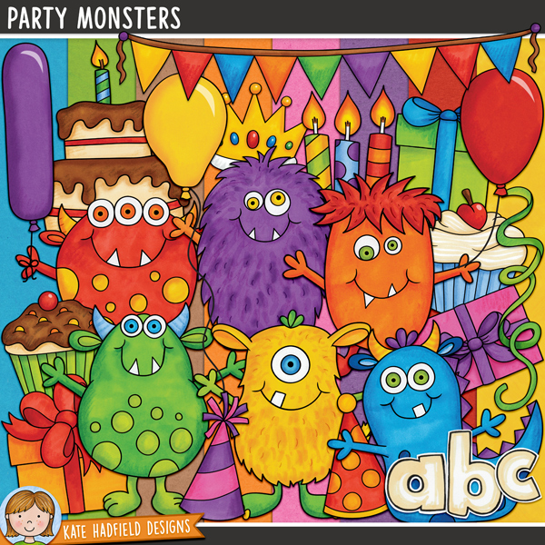 Party Monsters Kit - Birthday party digital scrapbook kit / cute monster birthday clip art! Contains doodles, painted papers and hand-drawn alphabet. Hand-drawn illustrations for digital scrapbooking, crafting and teaching resources from Kate Hadfield Designs.