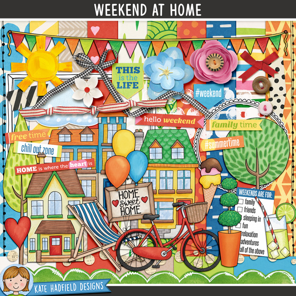 Weekend at Home digital kit - House and home digital scrapbook kit. Contains digital papers, elements, and hand-painted illustrations. Hand-drawn doodles for digital scrapbooking, crafting and teaching resources from Kate Hadfield Designs.