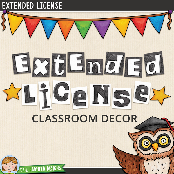 This license grants a single-user permission to incorporate Kate Hadfield Designs' clip art illustrations in decorative downloadable products that contain little or no educational instructional content and that are specifically for use in the classroom environment. It does NOT allow for general stationery items that could be used outside the classroom (such as greetings cards, decorative or digital stickers, general use note-cards, planners and planner stickers etc.) nor does it allow for colouring pages and other items where isolated illustrations are used.This license allows the license holder to use the illustrations to create classroom décor items offered for sale (or distributed for free) that are not allowed under thestandard Terms of Use*such as:Classroom labels and tagsDecorative classroom banners, posters and signsStudent writing paperStudent brag tagsTeacher notes to studentsStudent punch cardsTeacher postcards*Please note that creating such items for your own personal classroom use is allowed under the standard Terms of Use! You do NOT need to purchase this license to create decor products solely for your own classroom.This license is intended for Teacher Authors who would like to distribute their decor products to other educators outside their own classroom, either for free, or as paid products.All clip art illustrations must be purchased separately, no illustrations are included in the purchase of this license.If you are unsure whether this license covers the type of product you would like to create, please get in touch before purchasing, I am always happy to answer any queries! By purchasing this license, you are confirming that you have read and understood the Terms of this Extended License. Please note that no refunds will be given.** This license is not active until you have registered your purchase and received confirmation of your registration along with your unique license number. After purchasing you will receive a download file containing instr