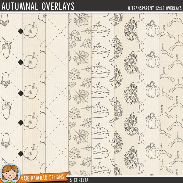 A set of autumn themed transparent overlays to help you add a touch of doodled fun to your papers and backgrounds! Play with colours and blending modes to create different effects, these overlays offer a fun way to get even more creative with your pages! Contains 8 12x12 png files. Designs include: acorns, apples, dotted grid, leaves, pie, pinecones, pumpkins and sycamore seeds.FOR PERSONAL & EDUCATIONAL USE (please see myTerms of Usefor more information)