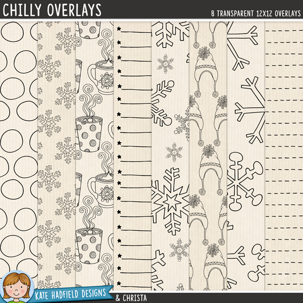 Chilly Overlays - 8 12x12 digital scrapbook patterned overlays to create your own winter papers and backgrounds. Hand-drawn illustrations for digital scrapbooking, crafting and teaching resources from Kate Hadfield Designs.
