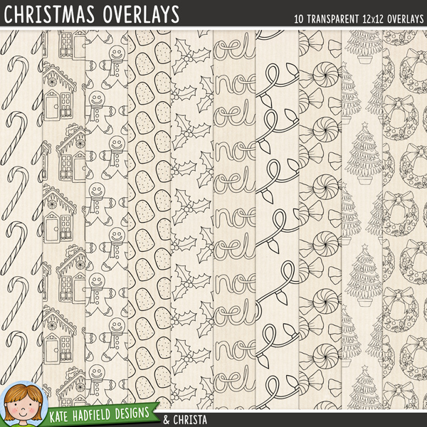 A set of Christmas inspired transparent overlays to help you add a touch of doodled fun to your papers and backgrounds! Play with colours and blending modes to create different effects, these overlays offer a fun way to get even more creative with your pages! Contains 8 12x12 png files. Designs include: candy cane, strings of fairy lights, gingerbread house, gingerbread man, gum drop, holly, Noel wordart, peppermint candy, Christmas tree, wreath.FOR PERSONAL & EDUCATIONAL USE (please see myTerms of Usefor more information)