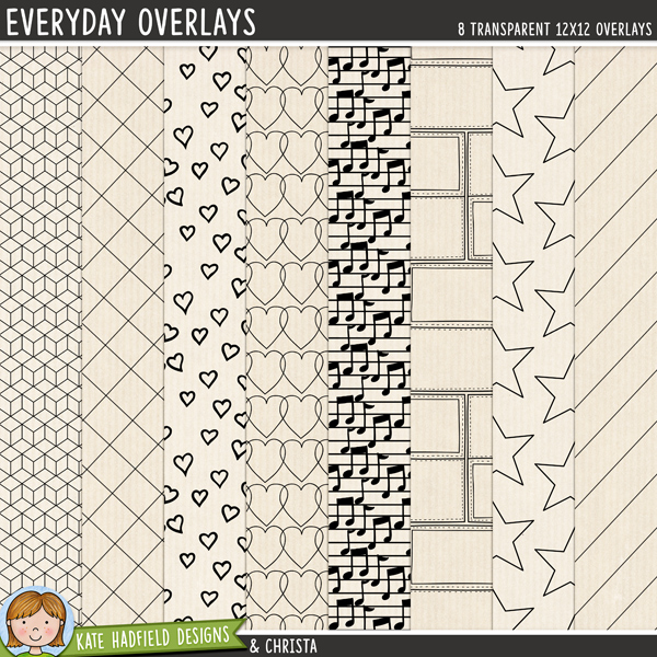 A set of transparent overlays to help you add a touch of doodled fun to your papers and backgrounds! Play with colours and blending modes to create different effects, these overlays offer a fun way to get even more creative with your pages! Contains 8 12x12 png files. Designs include: 3D boxes, checkbox grid, diagonal lines, doodled hearts, linked hearts, musical notes, stamps and stars.FOR PERSONAL & EDUCATIONAL USE (please see myTerms of Usefor more information)