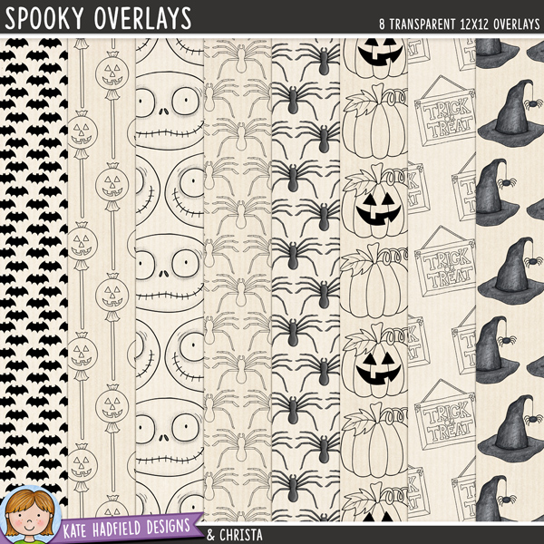 A set of Halloween inspired transparent overlays to help you add a touch of doodled fun to your papers and backgrounds! Play with colours and blending modes to create different effects, these overlays offer a fun way to get even more creative with your pages! Contains 8 12x12 png files. Designs include: bats, pumpkin lollipops, pumpkins / jack-o-lanterns, skull, spiders, trick or treat and witch's hats.FOR PERSONAL & EDUCATIONAL USE (please see myTerms of Usefor more information)