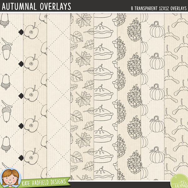 A set of autumn themed transparent overlays to help you add a touch of doodled fun to your papers and backgrounds! Play with colours and blending modes to create different effects, these overlays offer a fun way to get even more creative with your pages! Contains 8 12x12 png files. Designs include: acorns, apples, dotted grid, leaves, pie, pinecones, pumpkins and sycamore seeds.FOR PERSONAL & EDUCATIONAL USE (please see my Terms of Use for more information)