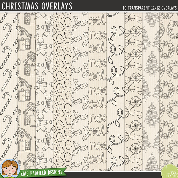 A set of Christmas inspired transparent overlays to help you add a touch of doodled fun to your papers and backgrounds! Play with colours and blending modes to create different effects, these overlays offer a fun way to get even more creative with your pages! Contains 8 12x12 png files. Designs include: candy cane, strings of fairy lights, gingerbread house, gingerbread man, gum drop, holly, Noel wordart, peppermint candy, Christmas tree, wreath.FOR PERSONAL & EDUCATIONAL USE (please see my Terms of Use for more information)