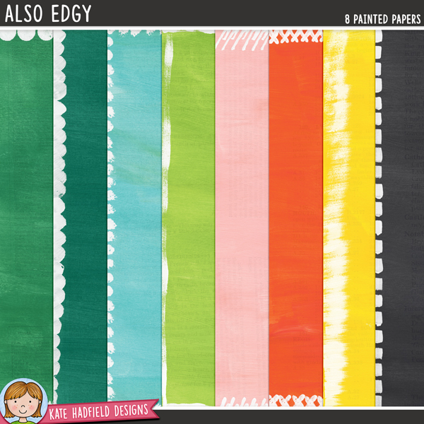 Also Edgy - painted digital scrapbook papers with extra details on the edges / digital paper clip art pack! Hand-painted papers for digital scrapbooking, crafting and teaching resources from Kate Hadfield Designs.