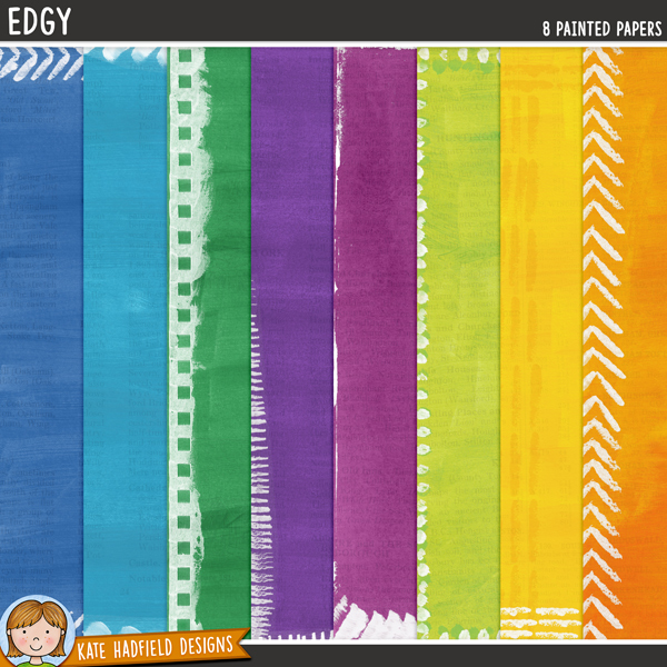 Edgy painted digital scrapbook papers / digital paper clip art pack! Hand-painted downloadable papers for digital scrapbooking, crafting and teaching resources from Kate Hadfield Designs.