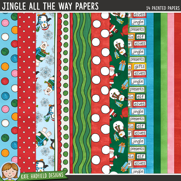 Jingle All The Way Papers - painted Christmas digital scrapbook papers / digital paper clip art! Hand-painted papers for digital scrapbooking, crafting and teaching resources from Kate Hadfield Designs. #digitalscrapbooking #digiscrap