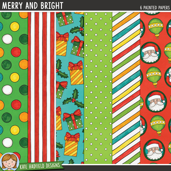 Merry and Bright - Christmas digital scrapbook papers / digital paper clip art! Hand-painted papers for digital scrapbooking, crafting and teaching resources from Kate Hadfield Designs. #digitalscrapbooking