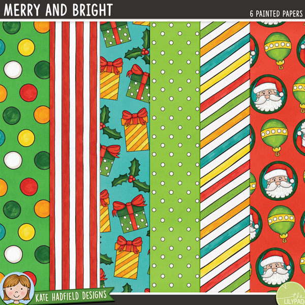 A collection of colourful, Christmassy papers to perk up your pages and projects! Contains 6 hand drawn and painted 12x12 papers.FOR PERSONAL & EDUCATIONAL USE (please see myTerms of Usefor more information)