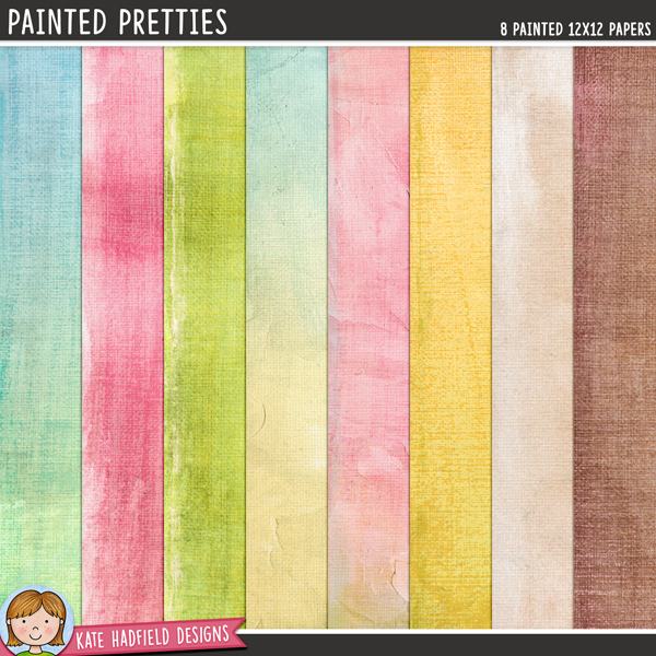 Painted Pretties - painted digital scrapbook papers / digital paper clip art! Hand-painted papers for digital scrapbooking, crafting and teaching resources from Kate Hadfield Designs.