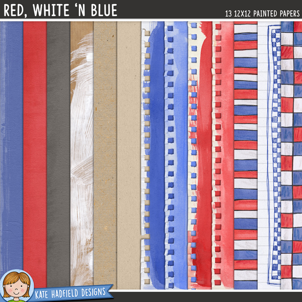 Red, White 'n Blue: Painted digital scrapbook papers / digital paper clip art pack! Coordinates with the Star Spangled kit. Hand-painted papers for digital scrapbooking, crafting and teaching resources from Kate Hadfield Designs.