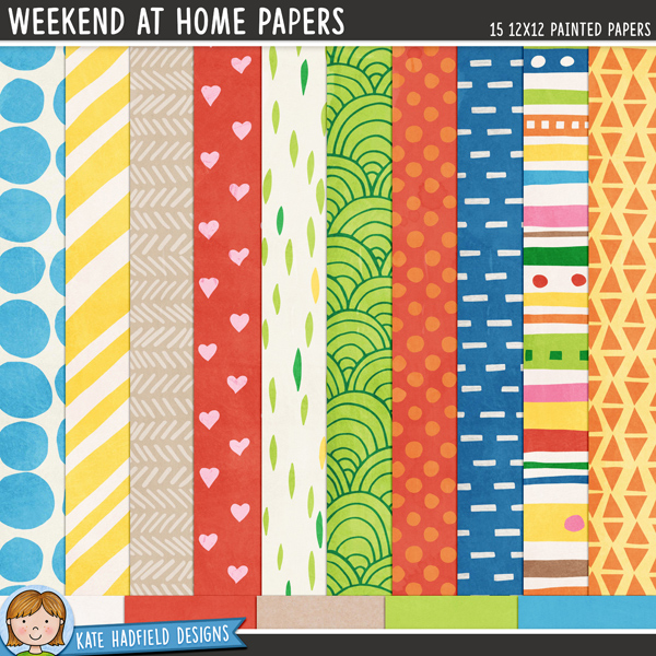Weekend at Home painted digital scrapbook papers / digital paper clip art! Hand-painted papers for digital scrapbooking, crafting and teaching resources from Kate Hadfield Designs.