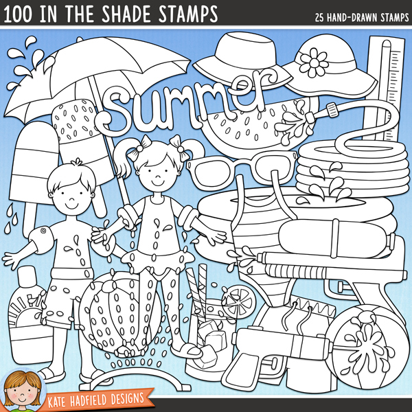 Outline versions of my 100 in the Shade doodles, this stamp pack contains the same doodles in three different formats: black outline png, black outline filled with white png (as shown in the preview) and a new bolder outline version for working on a smaller scale. Digital stamps are perfect for creating colouring sheets, cards and other hybrid projects as well as for stamping on your digital scrapbooking pages!	100 in the Shade is a collection of scorching summer doodles to help you celebrate the summer sun! Perfect for your pool and back yard photos, this pack contains the following hand drawn doodles: 2 beach balls, boy and girl in swimsuits and armbands, glass of lemonade, garden hose, 2 ice lollies, paddling pool, parasol, 2 water splashes, sprinkler, sunblock bottle, sunglasses, 2 sun hats, super soaker water gun, swim shorts, swim suit, thermometer, summer wordart, watermelon, water pistol and water splat!FOR PERSONAL & EDUCATIONAL USE (please see my Terms of Use for more information)