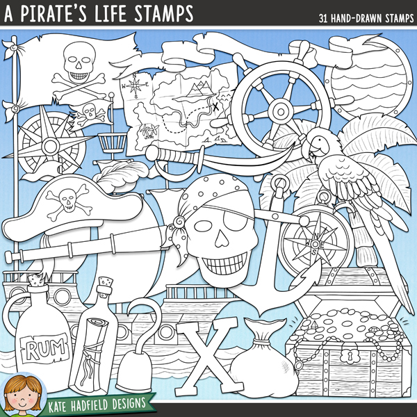 Arrrrrh me hearties! Here be some scurvy pirate doodles for ye! Celebrate all your pirate adventures with this jam-packed bumper doodle pack! Outlined versions of my A Pirate's Life doodles this stamp pack contains the same doodles in three different formats: black outline png, black outline filled with white png (as shown in the preview) and a new bolder outline version for working on a smaller scale. Digital stamps are perfect for creating colouring sheets, cards and other hybrid projects as well as for stamping on your digital scrapbooking pages!	Contains the following hand drawn stamps: anchor and rope, bag of coins, banner, barrel, beachscape, bomb, cannon, cannonballs, compass rose, eye patch, 2 pirate hats, headscarf, hook, Jolly Roger flag, message in a bottle, parrot, porthole, bottle of rum, sand, scroll, seascape, shark's fin, pirate ship, ship's compass, ship's wheel, skull (with headscarf and eye patch), skull and crossbones, spyglass, sword, 2 treasure chests (open and closed), treasure map and X (marks the spot!!)FOR PERSONAL & EDUCATIONAL USE (please see my Terms of Use for more information)
