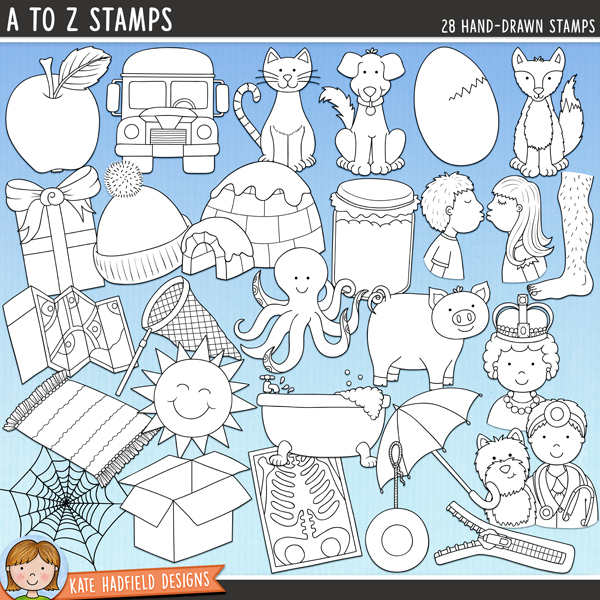 Outline versions of my A to Z doodles,  this stamp pack contains the same doodles in three different formats: black outline png, black outline filled with white png (as shown in the preview) and a new bolder outline version for working on a smaller scale. Digital stamps are perfect for creating colouring sheets, cards and other hybrid projects as well as for stamping on your digital scrapbooking pages!	A set of A to Z themed hand drawn doodles! Perfect for creating personalised reading aids, each picture word has been chosen to be easily recognisable, while containing short vowel sounds and the most common consonant sound (wherever possible!). Contains the following hand-drawn stamps: apple, box, bus, cat, dog, egg, fox, gift, hat, igloo, jar / jam / jelly, kiss, leg, map, net, octopus, pig, queen, rug, sun, tub, umbrella, vet, web, x-ray, yo-yo, zip / zipperFOR PERSONAL & EDUCATIONAL USE (please see my Terms of Use for more information)