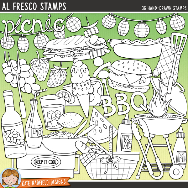 Outline versions of my Al Fresco illustrations, this stamp pack contains the same doodles in three different formats: black outline png, black outline filled with white png (as shown in the preview) and a new bolder outline version for working on a smaller scale. Digital stamps are perfect for creating colouring sheets, cards and other hybrid projects as well as for stamping on your digital scrapbooking pages!Aaahhhhh summer! Picnics at the park and tasty BBQs at home are what summer eating is all about! This pack celebrates all the deliciousness of Al Fresco dining and contains the following hand drawn illustrations:BBQ grill and lid, BBQ sauce bottle, burger (with and without cheese), cheese, chicken drumstick, cool box, corn on the cob, fire, fork, grapes, hot dog, ice cream, kebab, ketchup bottle, string of lanterns, lemon, glass of lemonade, mustard bottle, oven glove, 2 picnic baskets, bottle of pop, bowl of salad, sandwich, sausage, spatula, 2 splats, steak, strawberries, tongs, watermelon slice, wine bottle and 2 wordart pieces: picnic and BBQ.FOR PERSONAL & EDUCATIONAL USE (please see myTerms of Usefor more information)
